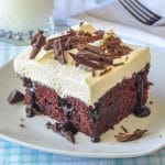 Chocolate Poke Cake close up photo of single serving on a white plate