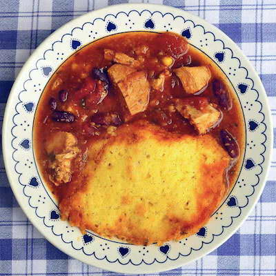 Leftover Turkey Chili Soup with Cornbread Dumplings