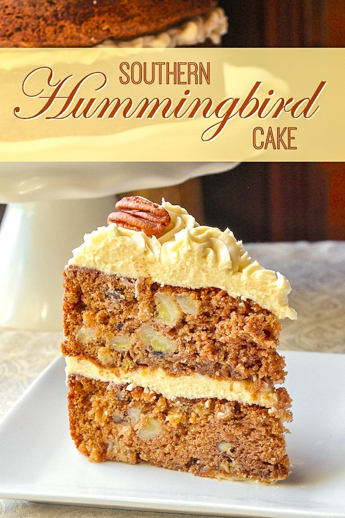 Hummingbird Cake is a close cousin to the carrot cake but with bananas, pineapple and crunchy pecans as the stand out flavours. It still loves to be paired with luscious cream cheese frosting though. #baking #scratchcake #easybaking #southernbaking #southernfood #dessert #sundaydinner