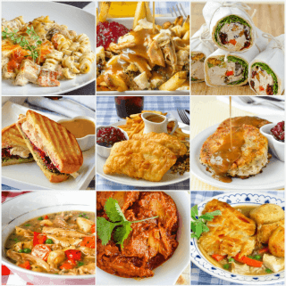 Leftover turkey recipes photo collage featured image
