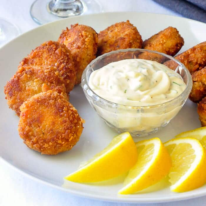 Mini Crab Cakes with Lime Chive Mayo