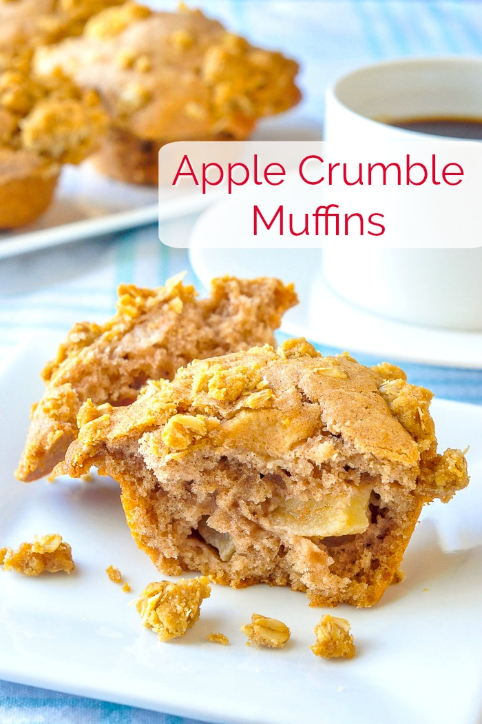 Apple Crumble Muffins photo with title text for Pinterest