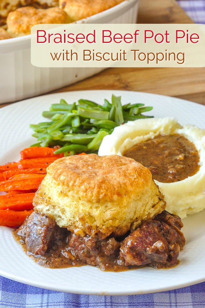 Braised Beef Pot Pie with Biscuit Topping single serving photo for Pinterest