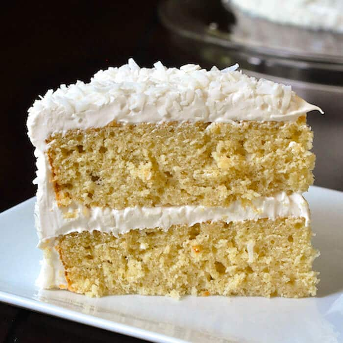 Coconut Velvet Cake- made with the rich flavour of coconut milk in the batter.