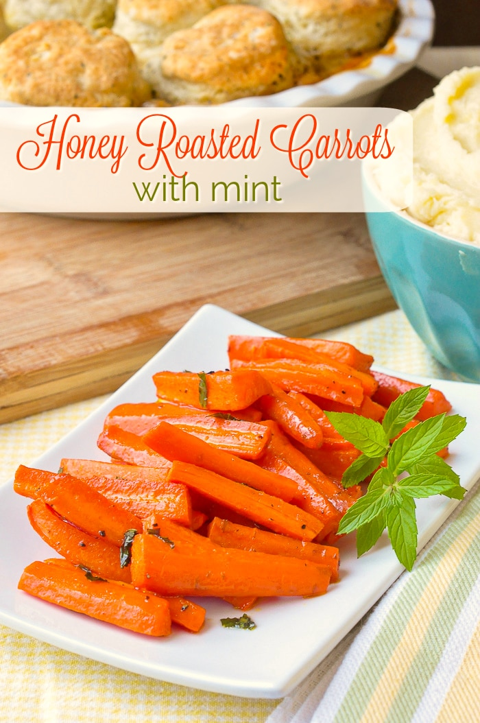 Honey Roasted Carrots with mint photo with title text for Pinterest