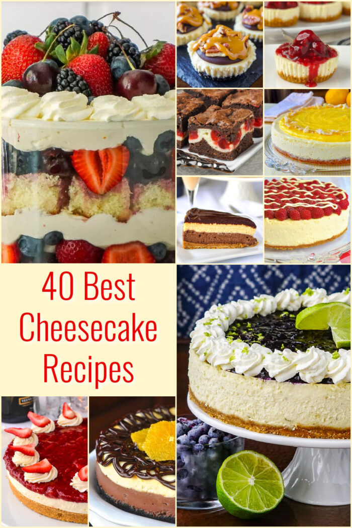 Top Ten Cheesecake Recipes photo collage with title text added for Pinterest
