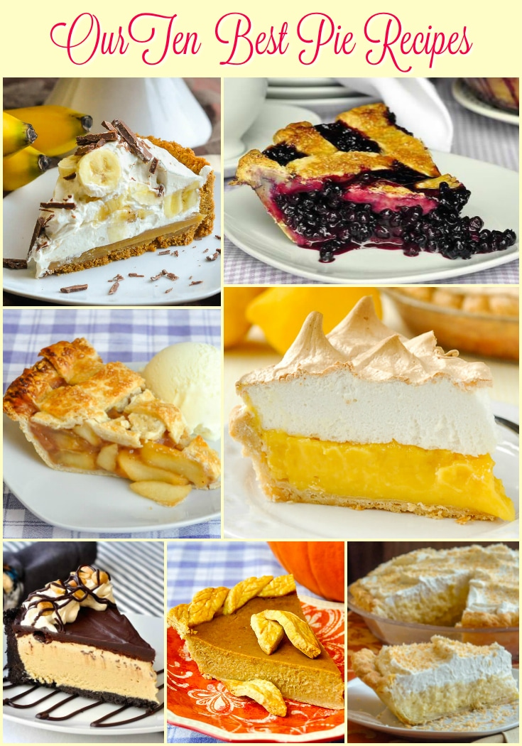 Top Ten Pie Recipes by Rock Recipes photo collage with title text for Pinterest