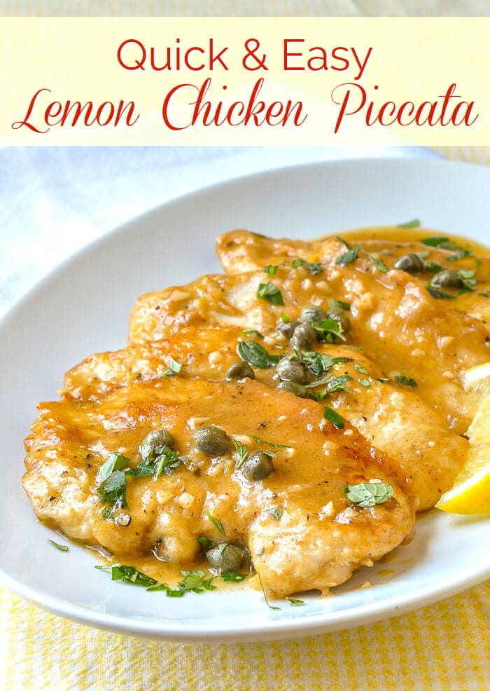 Easy Lemon Chicken Piccata image with title text overlay