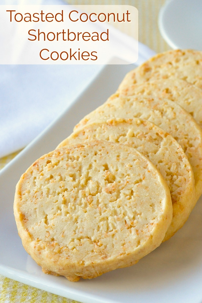 Toasted Coconut Shortbread Cookies photo with title text added for Pinterest