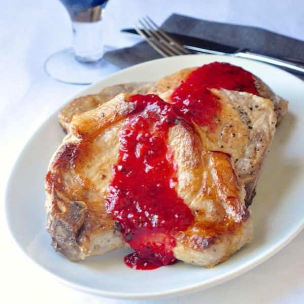 Honey Raspberry Pan Fried Pork Chops