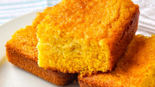 Photo of the best easy cornbread recipe with white napkin in the background