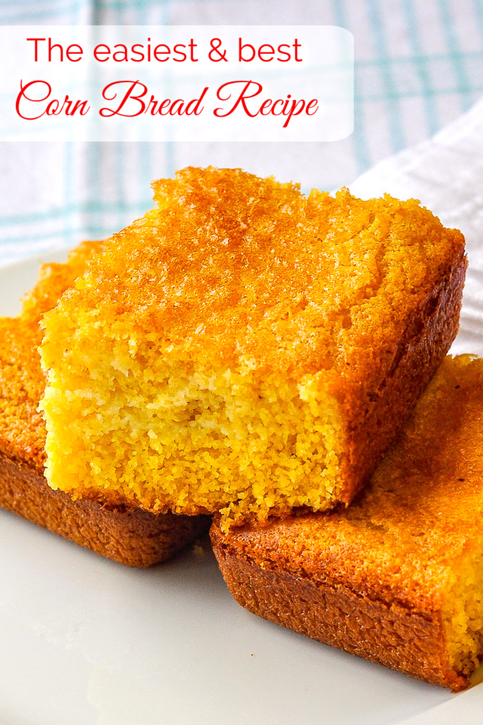 The best easy cornbread recipe photo of stacked cornbread with title text added for Pinterest