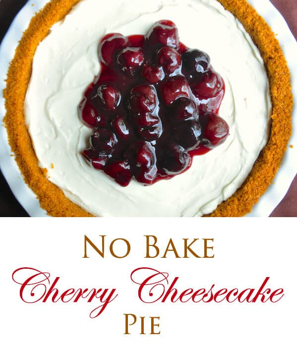 no Bake Cherry Cheesecake Pie image with text