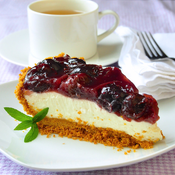 No Bake Cherry Cheesecake Pie - you'll taste the difference! - Rock ...