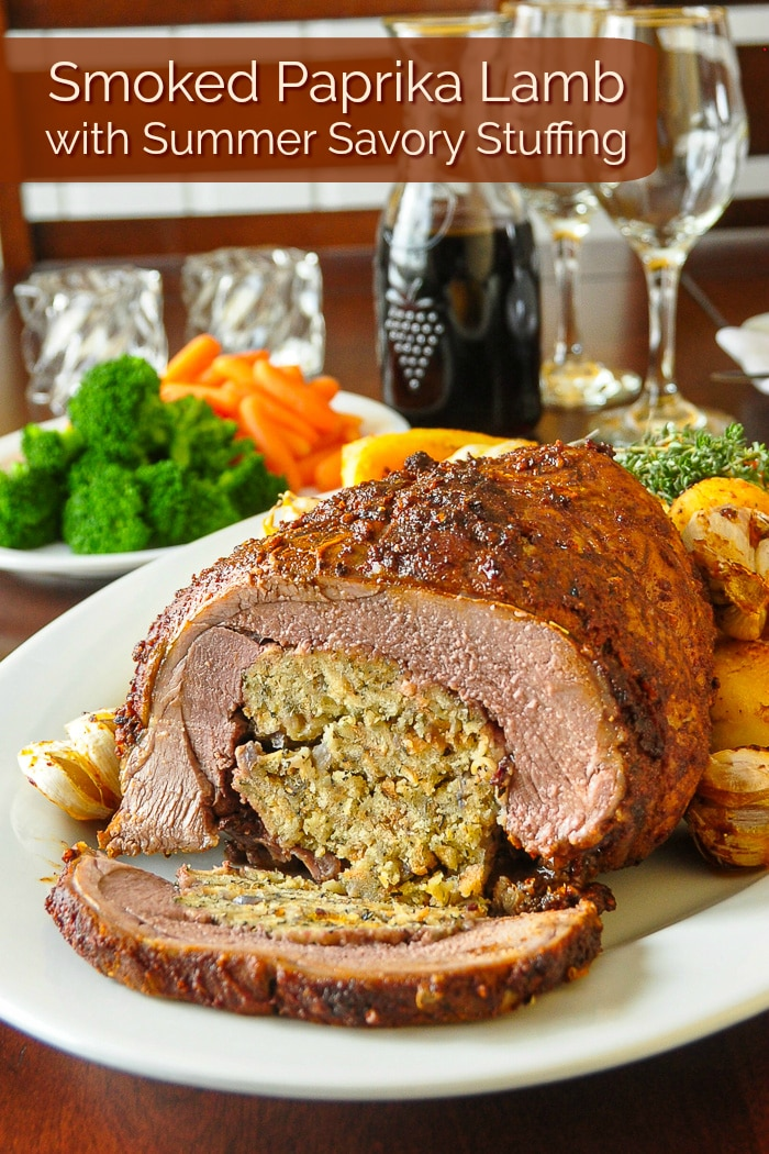 Smoked Paprika Lamb with Summer Savory Stuffing photo with title text for Pinterest