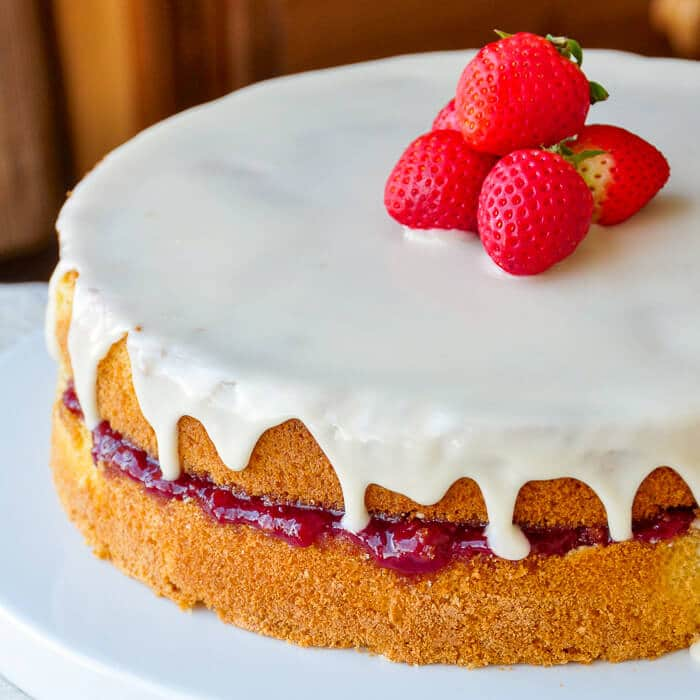 Strawberry Vanilla Sponge Cake with Roasted Strawberry Jam
