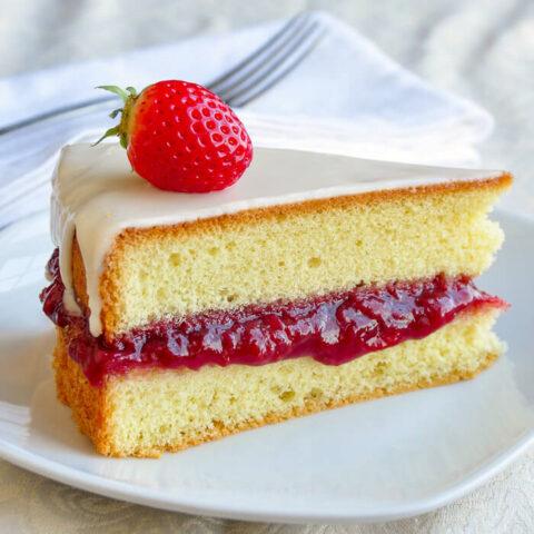 Strawberry Vanilla Sponge Cake with Roasted Strawberry Jam