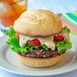 Vegetarian Mushroom Burger fully dressed
