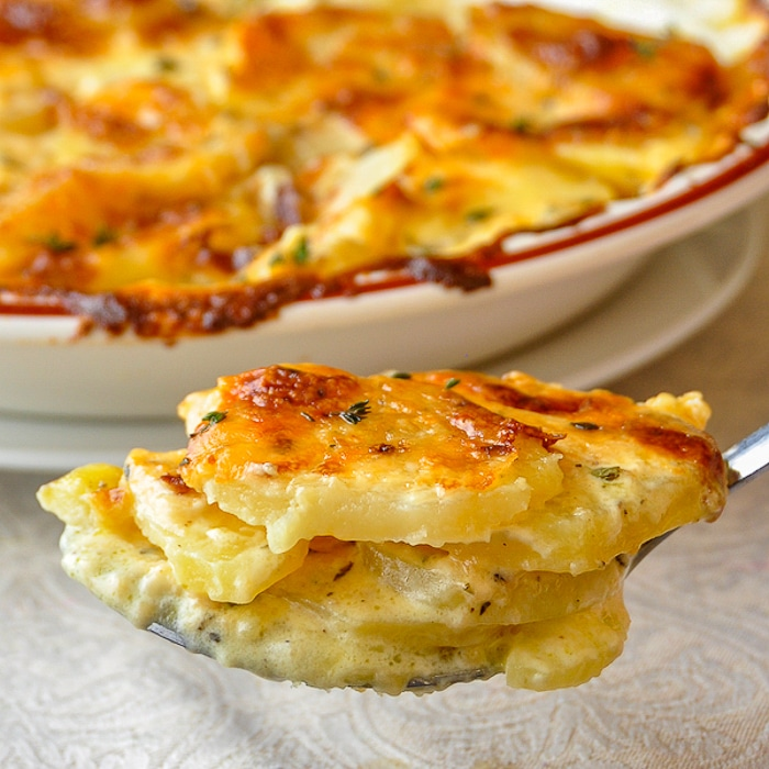 Creamy Dijon Garlic Potatoes Dauphinoise close up photo of potatoes on serving spoon