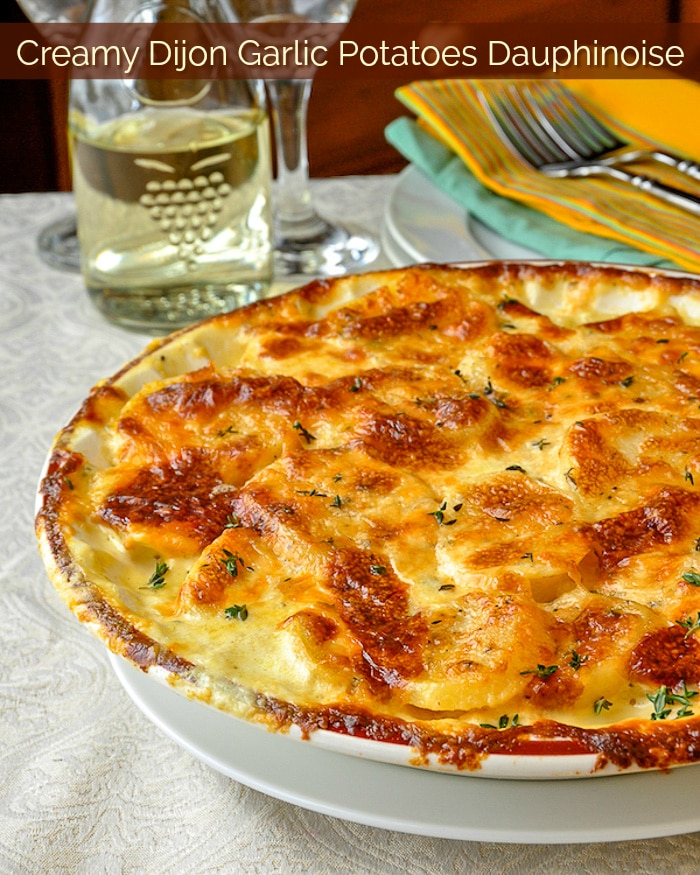 Creamy Dijon Garlic Potatoes Dauphinoise photo with title text for Pinterest