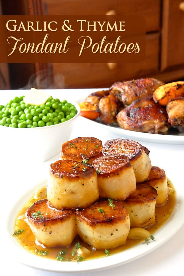 Garlic Thyme Fondant Potatoes image with text