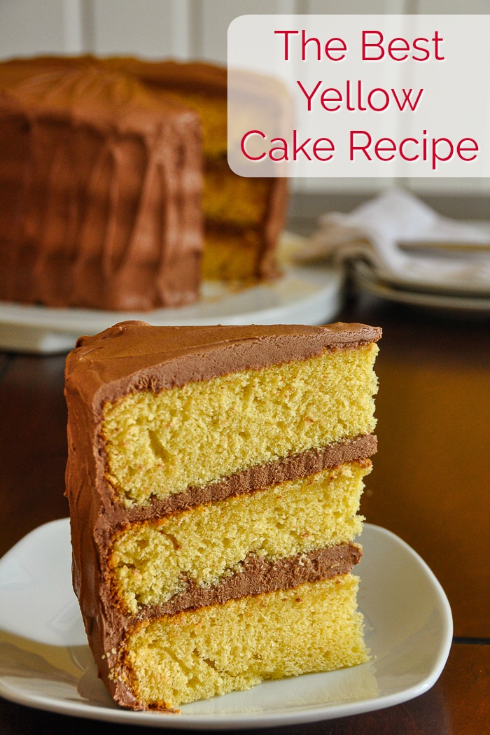 The best yellow cake photo with title text for Pinterest