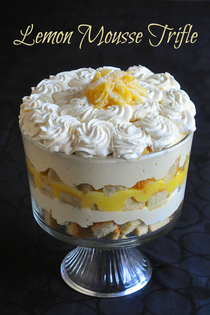 Lemon Mousse Trifle - a lemon lovers dream and the best Easter dinner dessert you can imagine.