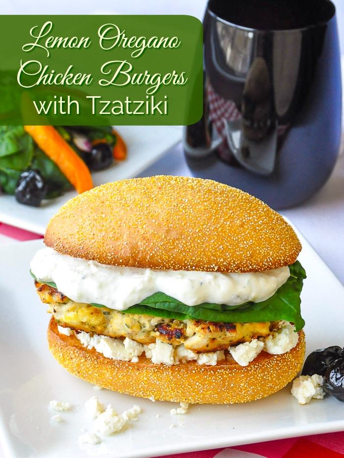Lemon Oregano Chicken Burgers with Tzatziki photo with title text for Pinterest