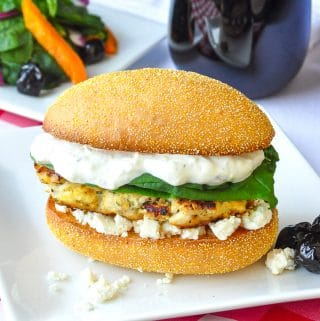 Lemon Oregano Chicken Burger on a white plate
