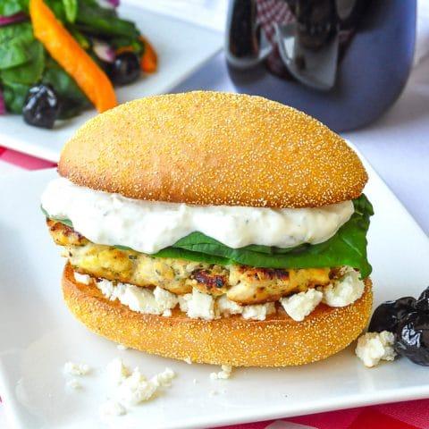 Lemon Oregano Chicken Burger on a white plate