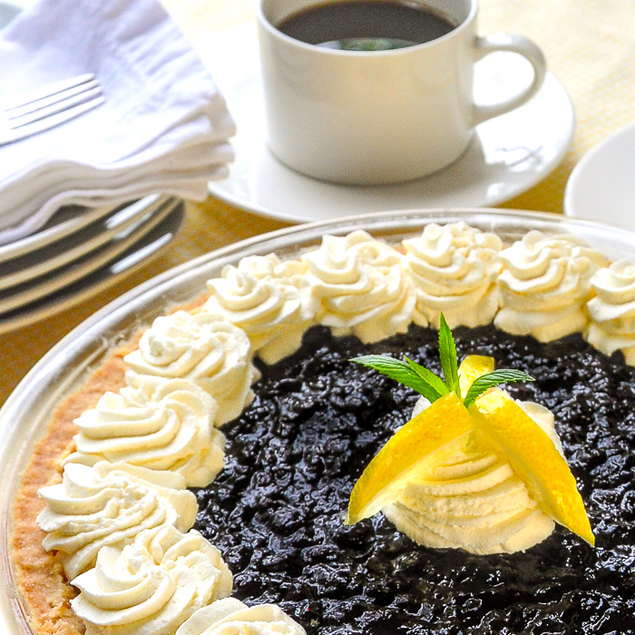 Close up photo of the finished Lemon Blueberry Cheesecake Pie