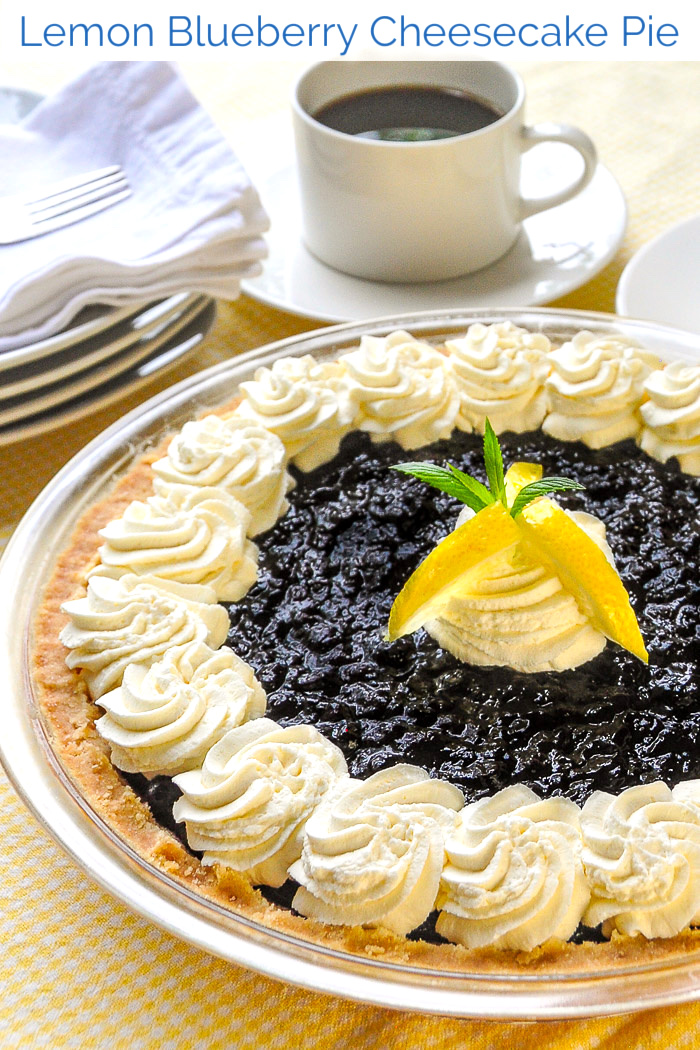 Photo of finished Lemon Blueberry Cheesecake Pie with title text added for Pinterest