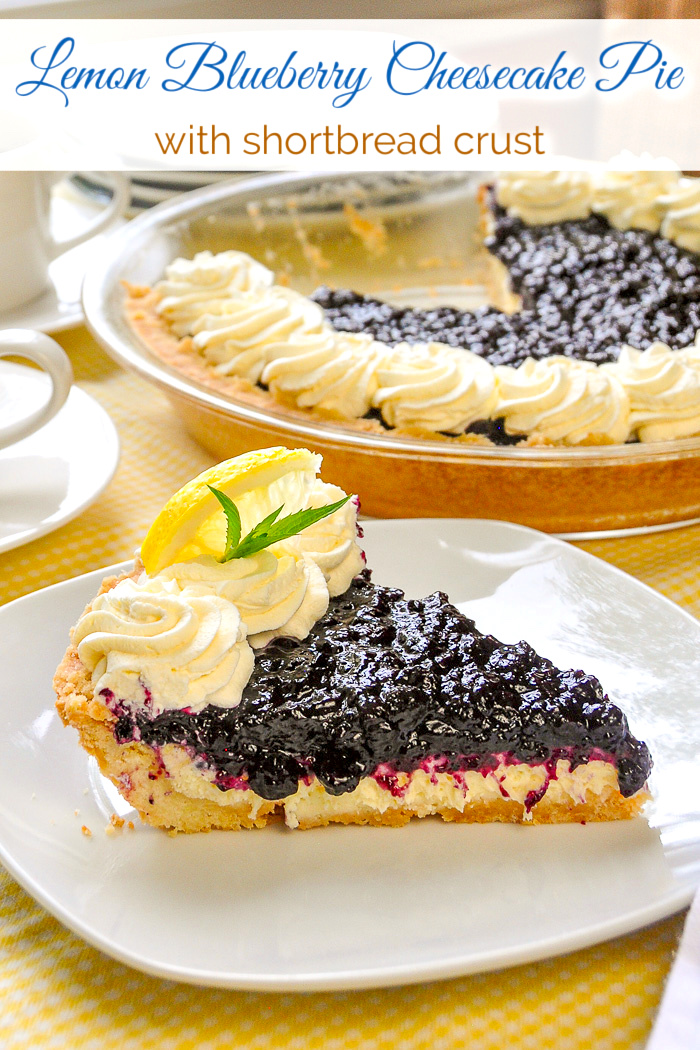 Photo of one slice of Lemon Blueberry Cheesecake Pie with title text added for Pinterest