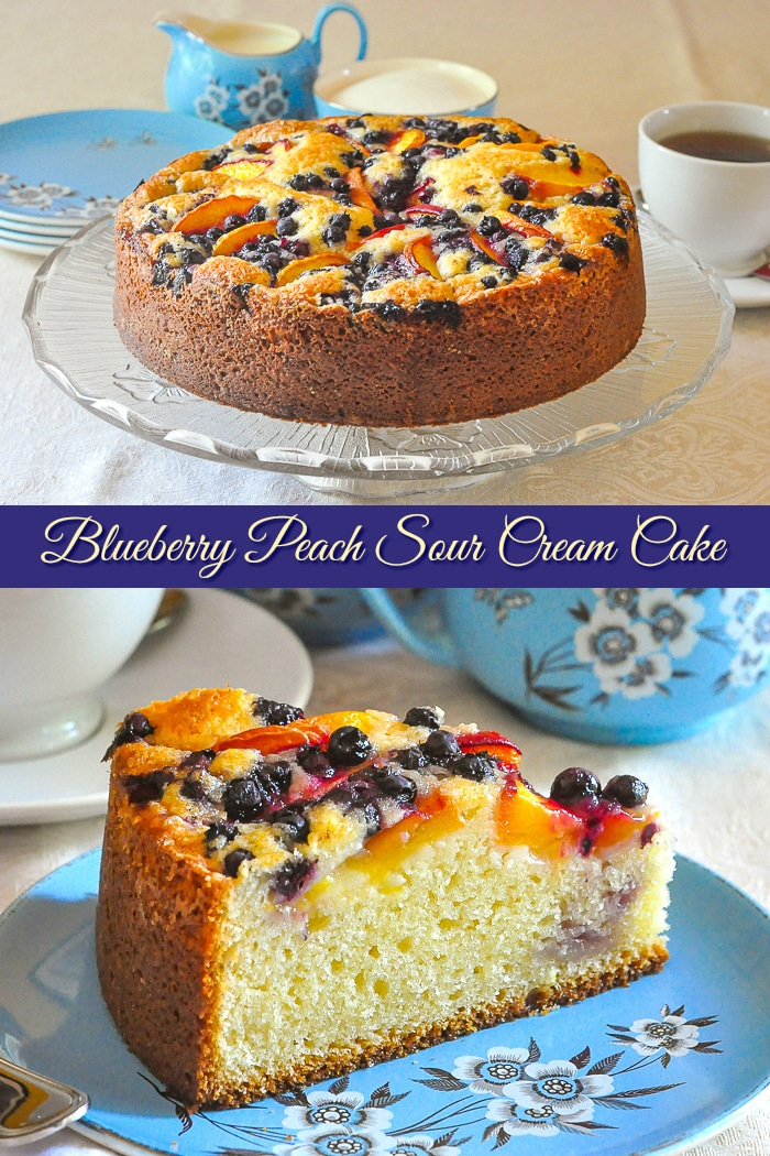 Blueberry Peach Sour Cream Cake 2 photo collage with title text added for Pinterest