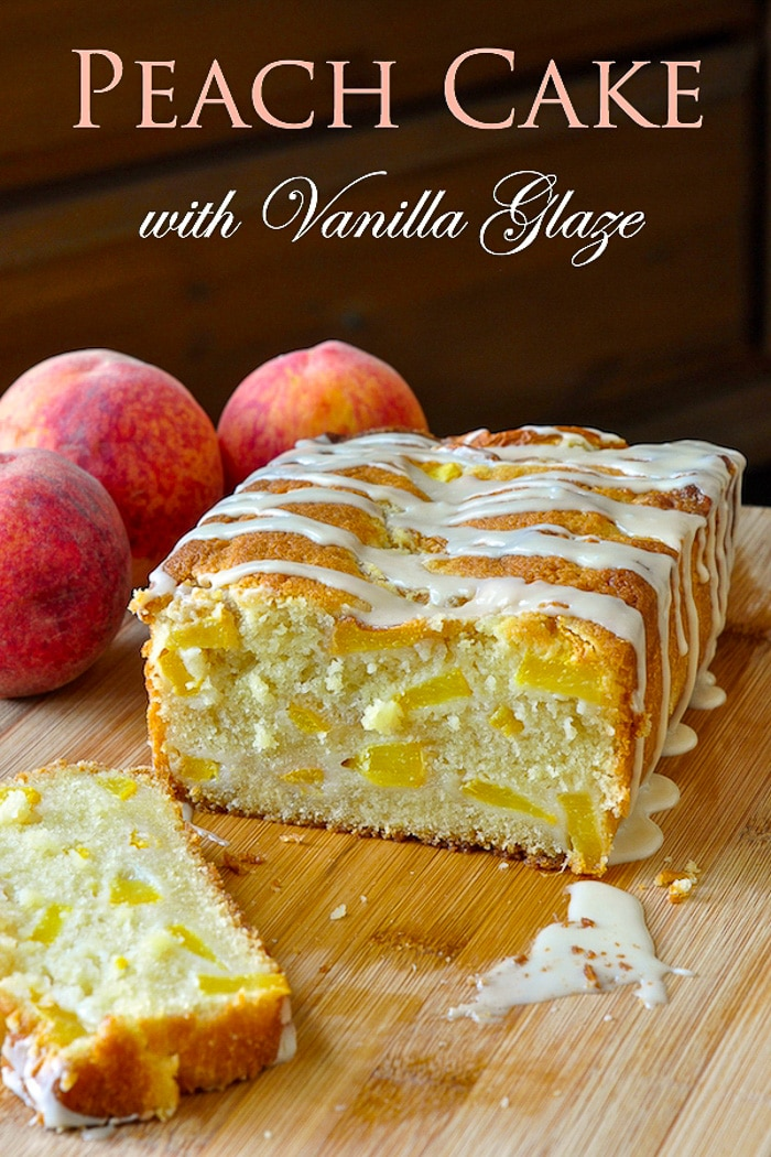 Peach cake with vanilla glaze photo with title text added for Pinterest
