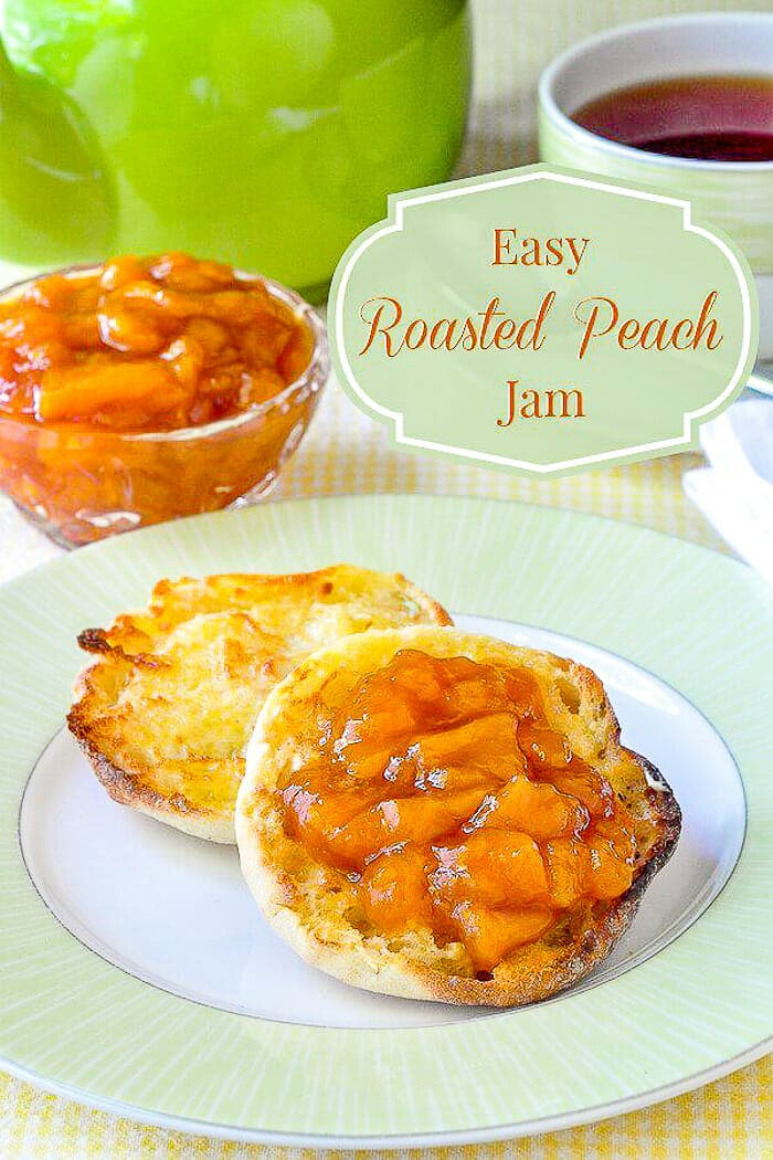 Easy Roasted Peach Jam image with title text overlay for Pinterest.