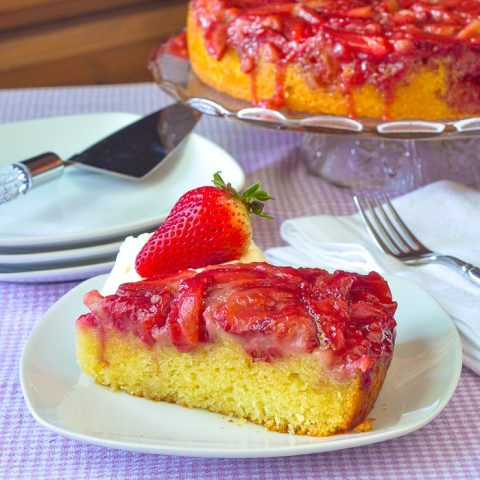 Strawberry Upside Down Cake photo of a single slice on a white plate