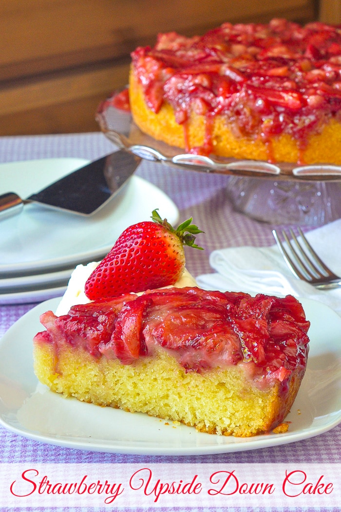 Strawberry Upside Down Cake photo of a slice of cake with title text added for Pinterest