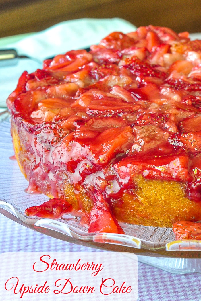Strawberry Upside Down Cake photo of uncut cake with title text added for Pinterest