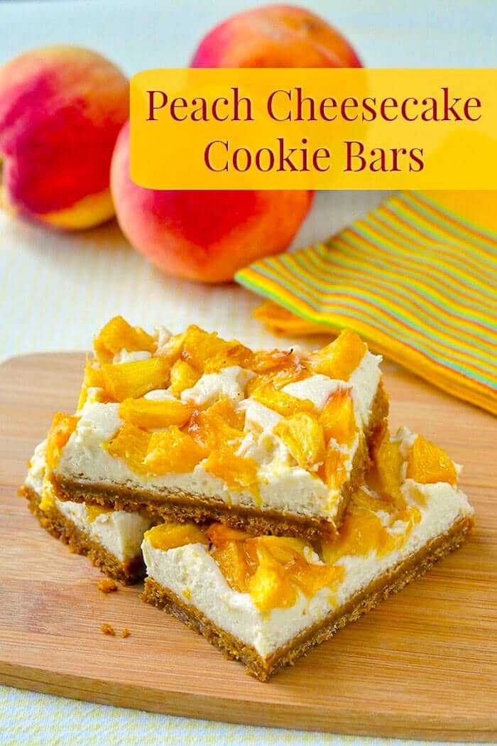 Peach Cheesecake Cookie Bars photo with title text