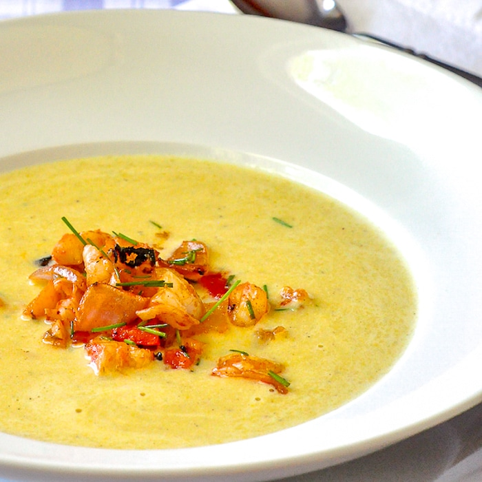 Summer Corn Soup with Grilled Shrimp Sriracha Salsa close up featured image