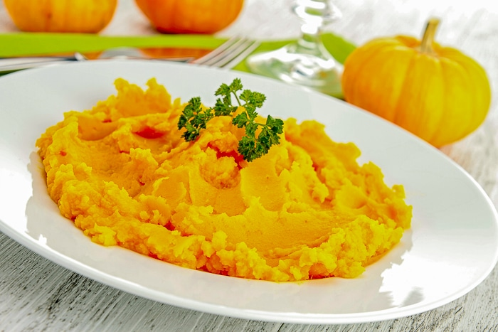 Stock image of Roasted Pumpkin Puree in a white bowl