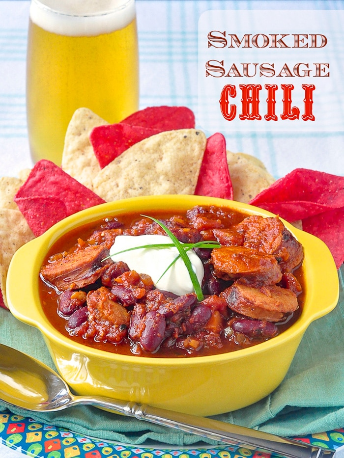 Smoked Sausage Chili photo with title text for Pinterest