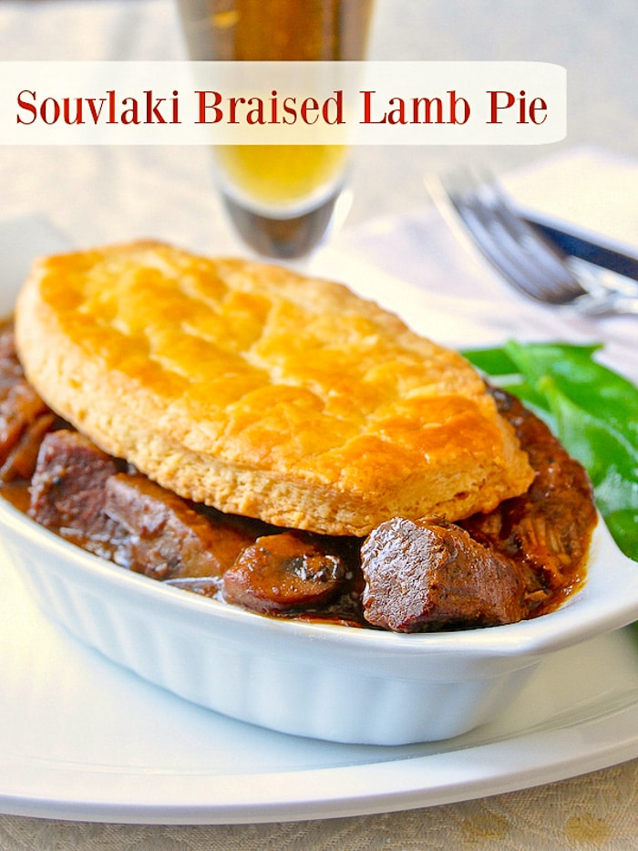 Souvlaki Braised Lamb Pie photo with title text for Pinterest