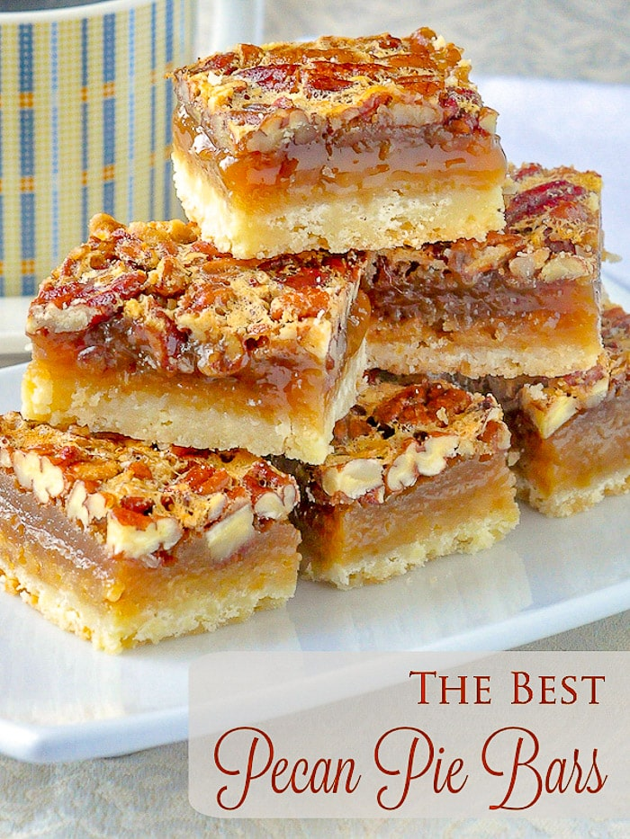 The Best Pecan Pie Bars photo with title text for Pinterest