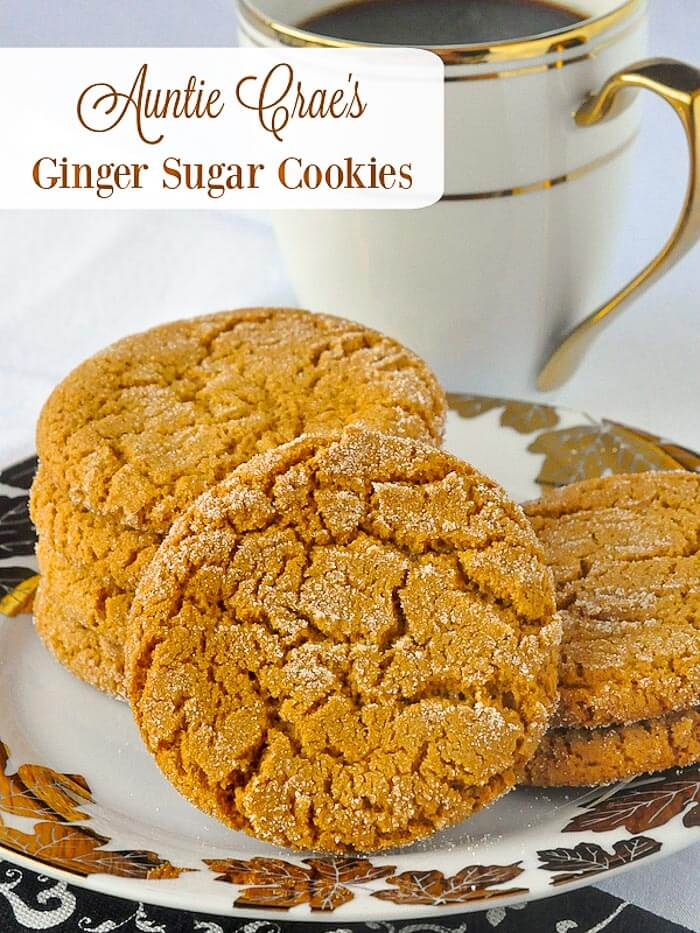 Auntie Crae's Ginger Sugar Cookies. These are sort of a less intense ginger cookie but their flavour and texture is still excellent and they are still very, very addictive to ginger lovers. #cookies #oldfasionedrecipes #oldfashionedbaking #newfoundland #newfoundlandrecipes #christmascookies