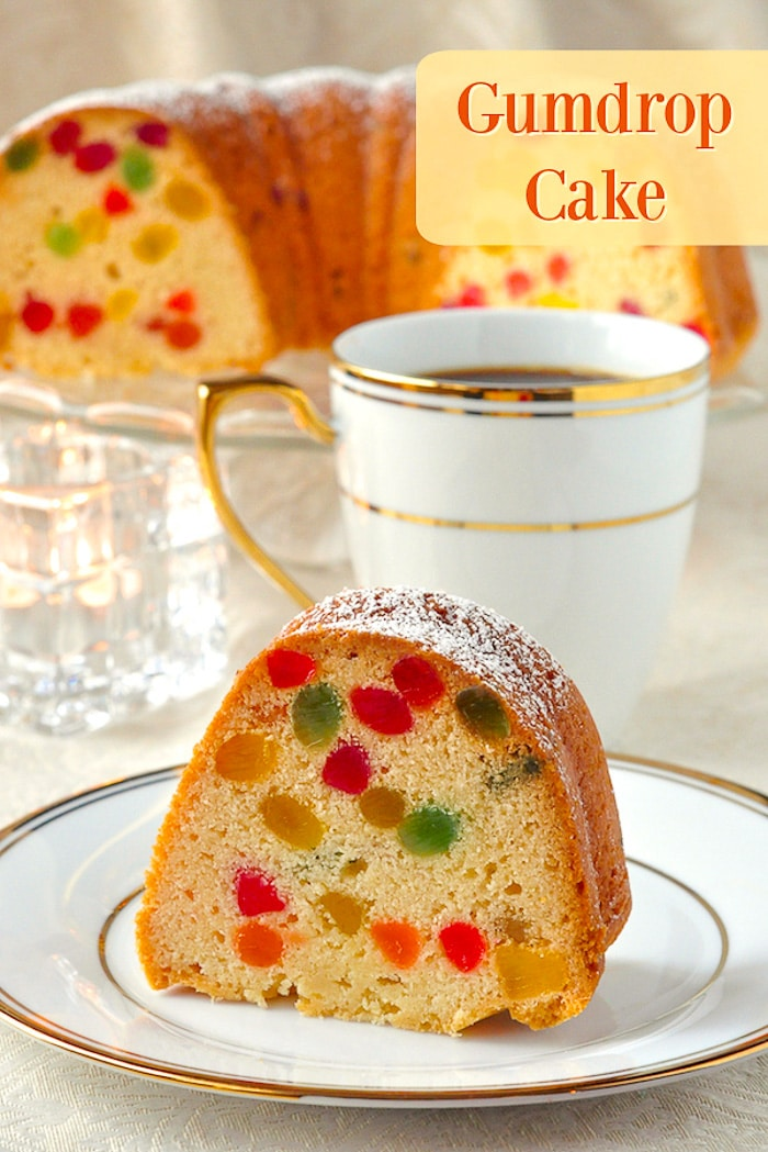 Gumdrop Cake photo of a single slice with title text added for Pinterest