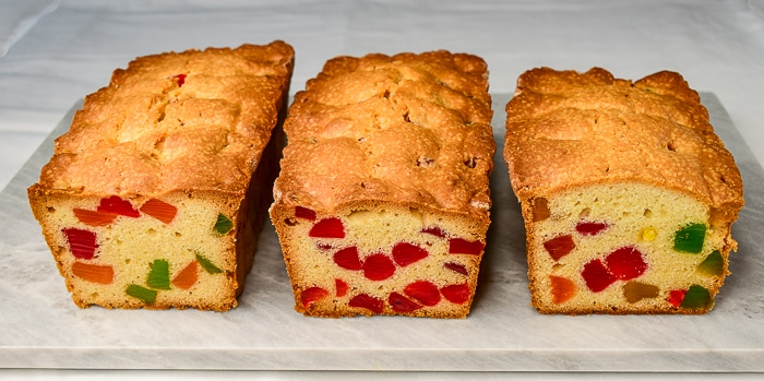 Old fashioned gumdrop cake loaves on a marble board