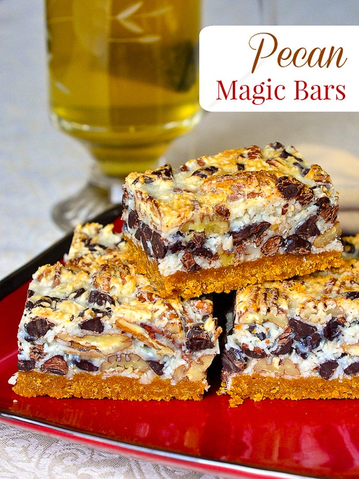 Pecan Magic Bars image with title text