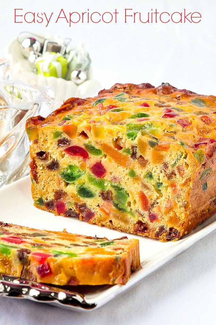 Sliced Apricot Fruitcake with title text added for Pinterest